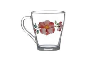 Чашка стеклянная Грация Цветы Акварель 250 мл  в ассортименте 80003616
