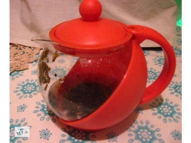 продам чайник заварник стекло пластик красный, нота ситечко силиковновое бу в Запорожье