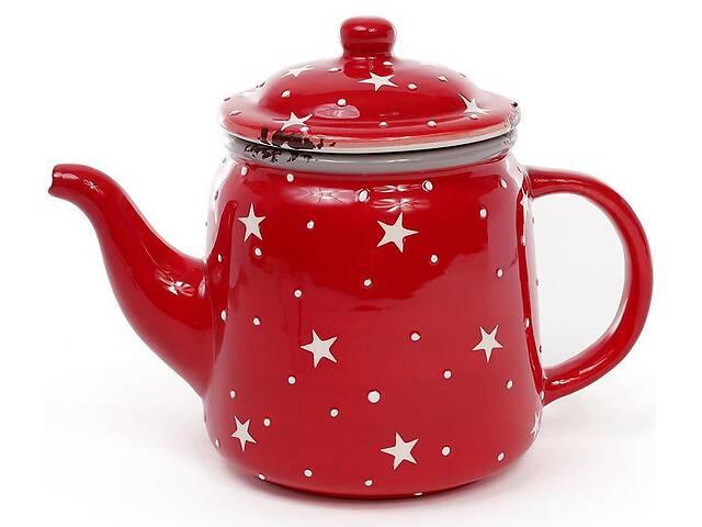 бу Чайник заварочный Bona Звезды на красном 850мл, керамический (BD-795-304_psg) в Киеве