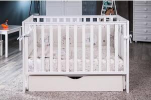 Детская кроватка из дерева для новорожденного с ящиком и маятником Twins Pinocchio 120 х 60 см, белая