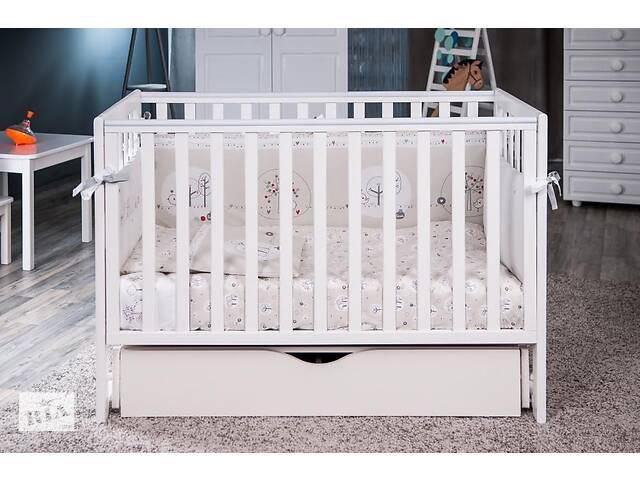 продам Детская кроватка из дерева для новорожденного с ящиком и маятником Twins Pinocchio 120 х 60 см, белая бу в Києві