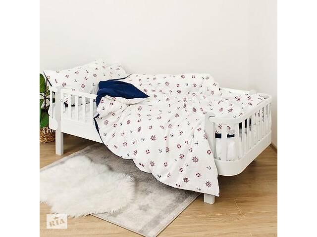 продам Детская полуторная сменная постель Twins Ocean хлопковая в кроватку, 4 элемента, синий бу в Киеве