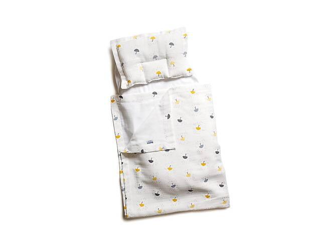 бу Детский муслиновый набор в коляску Twins плед, подушка, наматрасник на резинке Umbrella, желтый в Киеве