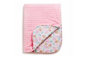 Дитячий плед бавовняний гіпоалергенний для новонародженого& nbsp; Twins Trip& nbsp; Серденька 104x80 см, рожевий