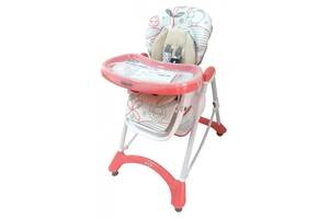 Детский стульчик для кормления со столешницей на колесиках Baby Mix YQ-198, розовый