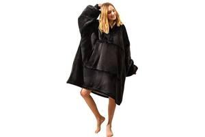 Двухсторонняя толстовка плед халат с капюшоном Huggle Hoodie оверсайз худи с искусственного меха Черная
