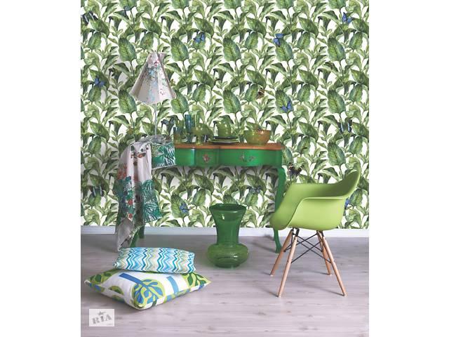 Флизелиновые обои на стену домашние растения Зеленый лист дизайнерские Green Leaves 250 см х 155 см- объявление о продаже  в Киеве