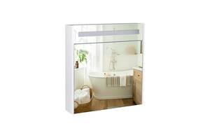 Дзеркальна шафа підвісна Qtap Robin 700х730х145 White з LED-підсвічуванням QT1377ZP7001W