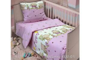 Комплект постельного белья  детский МИШУТКИ розовый (навол. 40*60;прост.на резинке)