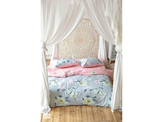 бу Комплект постельного белья Prestige Лотос серо-розовый евро SKL29-250702 в Одесі