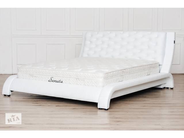 купить бу Кожаная двуспальная кровать Sonata Mobel B211 Белая в Одессе