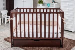 Кроватка из дерева для новорожденных Twins Pinocchio с ящиком и маятником 120х60 см., орех (6613)