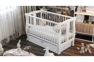 Кровать детская Дубик-М Грация на шарнирах с подшипником + ящик + откидная боковина белое