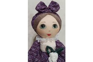 Лялька-грілка на чайник для заварювання ручної роботи в бордовому сарафані