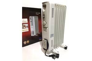 Масляный обогреватель Crownberg CB 7 радиатор на 7 секций 1500Вт с терморегулятором Белый (par_7)