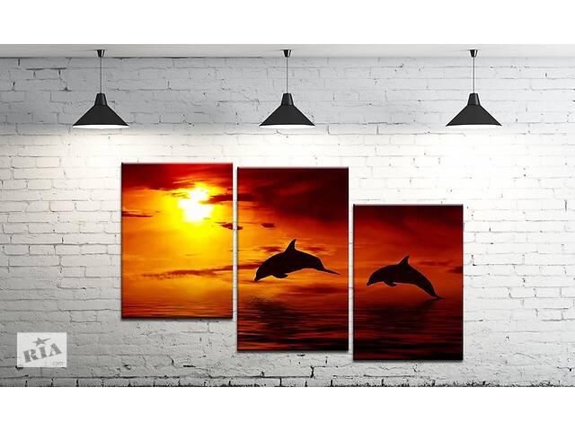 купить бу Модульна картина на полотні ProfART SM3-t177 100 х 53 см Дельфіна на заході (hub_EHiG86447) в Одесі