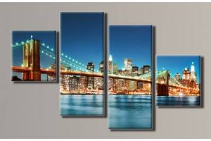 "Модульная картина на холсте из 4-х частей ""Бруклинский мост"""