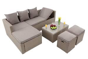 Набор для сада Bologna: диван угловой, столик, пуфики