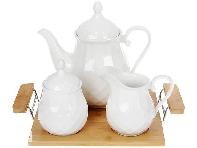 купить бу Набор для чая Bona Nouvelle Home Тиснение чайник молочник и сахарница на подносе (psg_BD-289-333) в Киеве