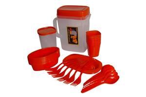 Набор для пикника 35 предметов на 6 персон в чемодане R30214 пластик Красный (gr_014884)