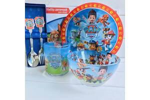 Посуда детская. набор посуды. щенячий патруль