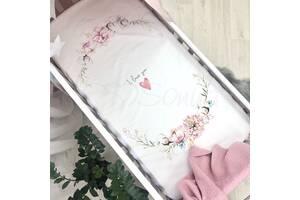 Простынь детская с печатью Heart and flowers