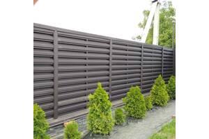 Штакетник в стиле жалюзи ранчо забор металлический коричневый двухсторонний