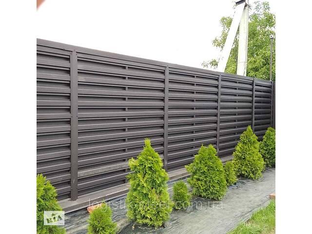 продам Штакетник в стиле жалюзи ранчо забор металлический коричневый двухсторонний евроштакетник бу в Вінниці