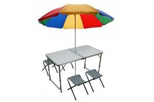 Стол для пикника складной с регулировкой по высоте 120 х 60 х 55/60/70 с 4 стульями и зонтом Seagard Белый