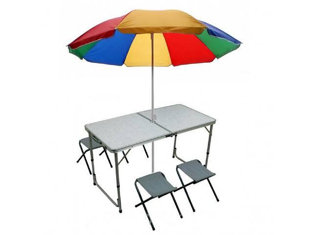 бу Стол для пикника складной с регулировкой по высоте 120 х 60 х 55/60/70 с 4 стульями и зонтом Seagard Белый в Одессе