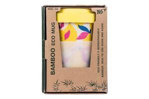 Ударопрочный индивидуальный стакан из бамбукового волокна с крышкой YES Hotch Potch Lemonade 400мл (707307)