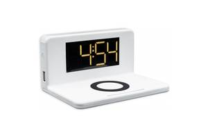 Умные настольные часы с LED-подсветкой и беспроводной зарядкой для телефона SY-W0241 Белые (gr_015015)