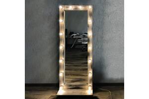 Зеркало из натурального дерева в пол для дома и салона красоты