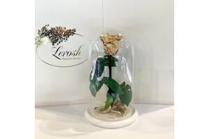 Золотая роза в колбе Lerosh - Classic 27 см на белой подставке SKL15-279533