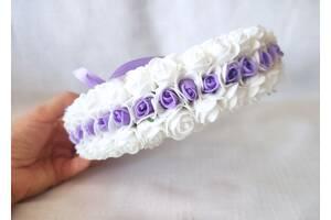 Свадебная подушечка для обручальных колец круглая из роз сиреневая и белая LA BEAUTY Studio Эксклюзив