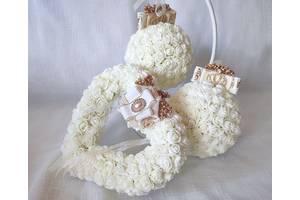 Свадебная подушечка для обручальных колец сердце из роз айвори золото LA BEAUTY Studio люкс