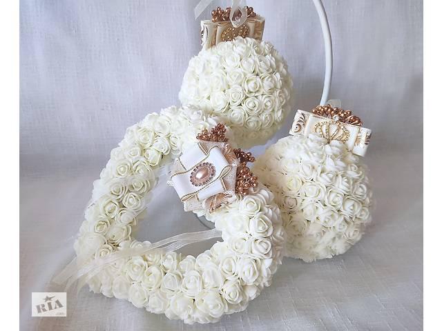 Весільна подушечка для обручок серце із троянд айворі золото LA BEAUTY Studio люкс- объявление о продаже  в Києві