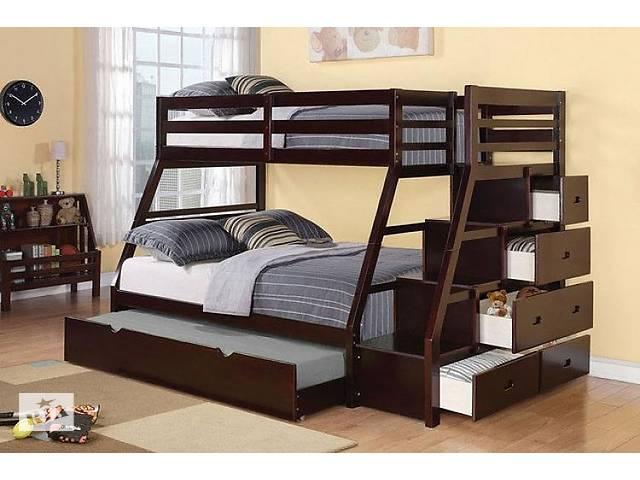 бу Сицилия: двухъярусная кровать (лестница - комод), трансформер, деревянная, трехместная, от производителя в Киеве