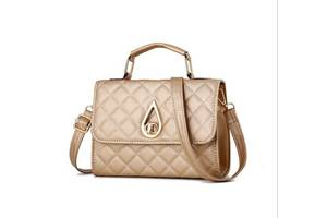 Модная стеганая сумка сундук с оригинальной застежкой каплей