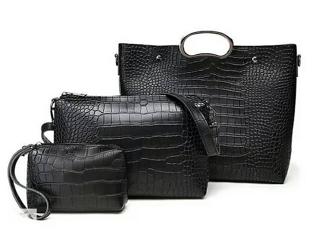 купить бу Набір сумок сумка чорна жіноча шкіряна велика жіноча нова в  Вінниці 43d4a3e52aadd