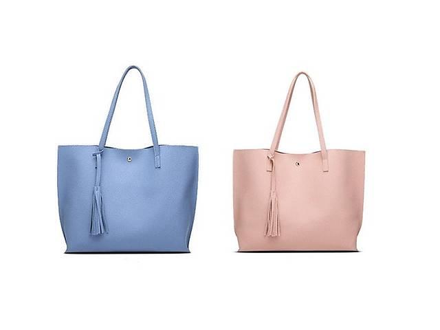 продам Стильная женская сумка шоппер / синяя серая розовая / есть видео обзор бу в Запоріжжі