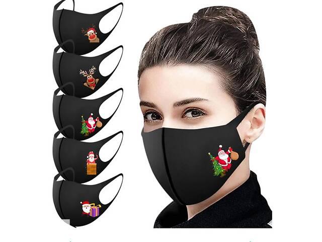 Маски для лица защитные с новогодним принтом, набор 5 шт