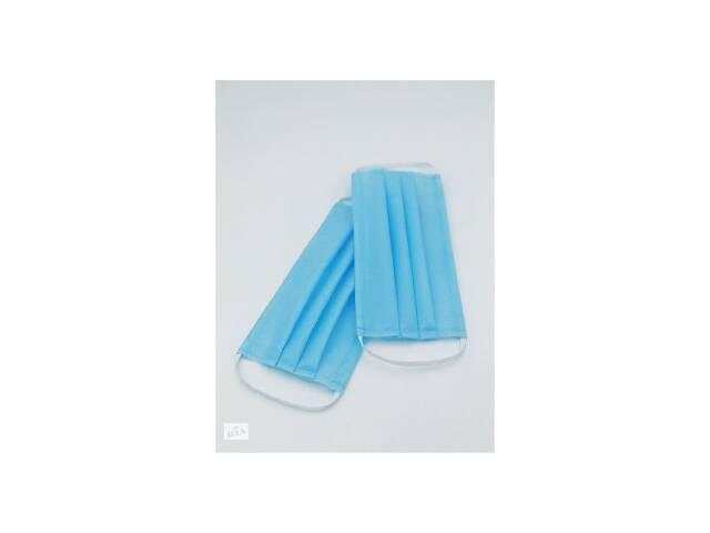Маски медицинские шитые спанбонд три слоя одноразовые белые -  от 50 штук
