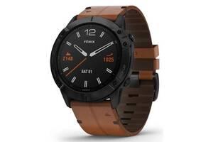 Спортивные часы Garmin Fenix 6X Sapphire Black DLC with Chestnut Leather Band