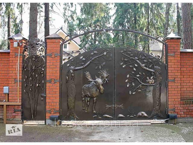 продам Эксклюзивные кованые ворота с калиткой, код: 01080 бу в Ладыжине