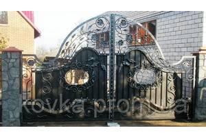 Кованые въездные ворота с калиткой, код: 01075