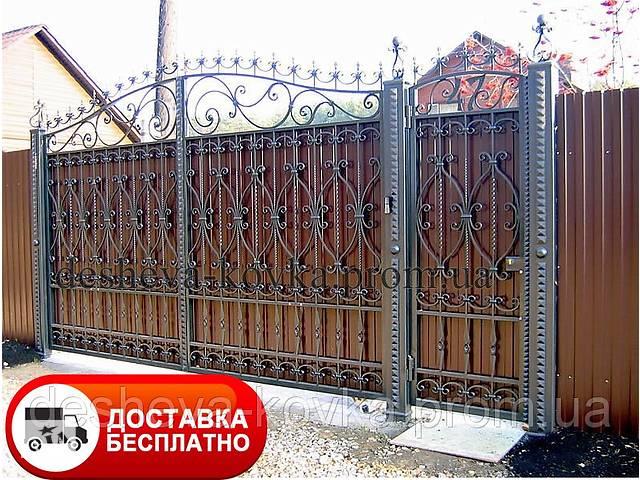 продам Распашные ворота с ковкой и профлистом, код: А-0150 бу  в Украине