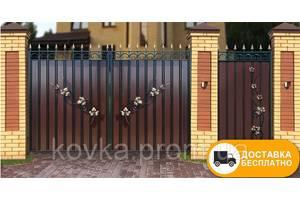 Ворота з кованими елементами та профнастилу, код: Р-0199