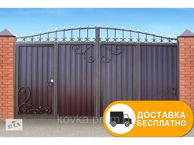 Ворота с встроенной калиткой из профнастилом, код: Р-0113- объявление о продаже  в Ладыжине