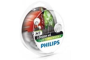 Автолампа PHILIPS H1 LongLife EcoVision, 2шт (12258LLECOS2)